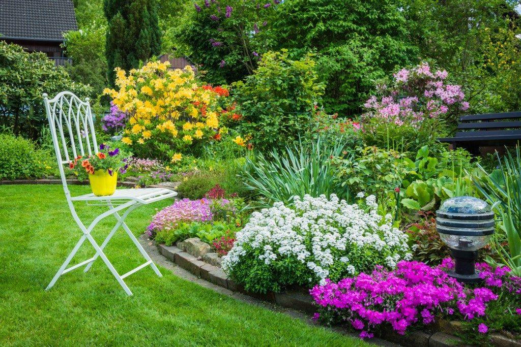 color-coordinated garden