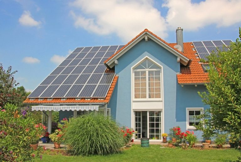 modern home with solar cells
