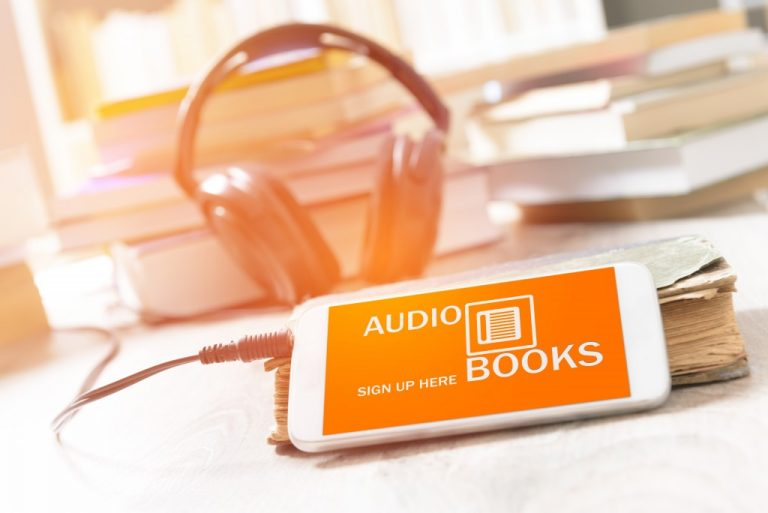smart phone with audio books application on screen