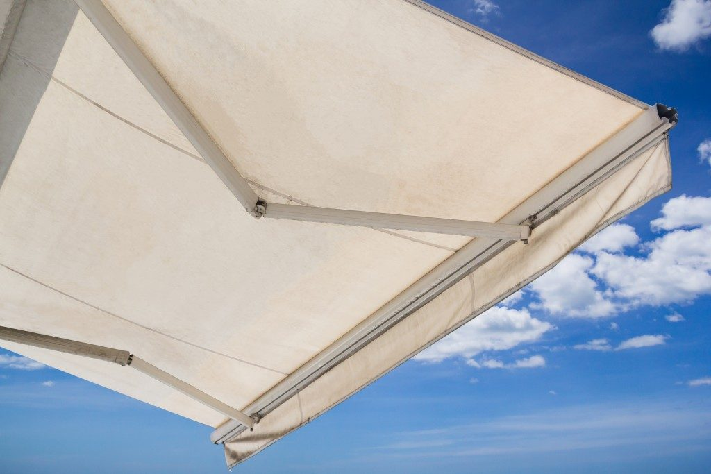 white awning made of canvas
