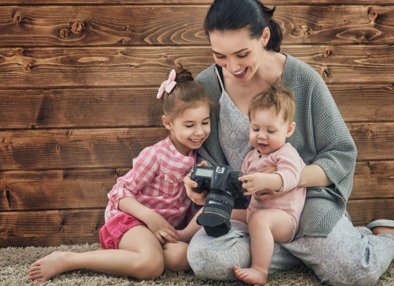 Looking at baby photos