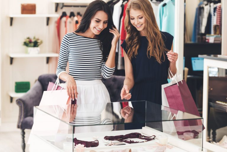 women looking at lingerie